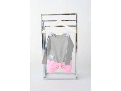 FunnyBunny predĺžené tričko s mašľami - sivá