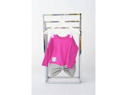 FunnyBunny predĺžené tričko s mašľami - purpur