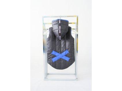 Zateplená pískacia vesta s krížikom jeans čierna/modrá