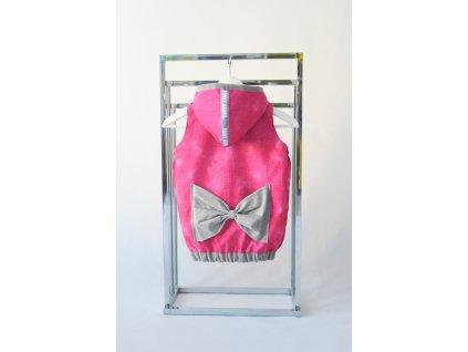 Pískacia softshellová vesta s mašľou riflovo-ružová