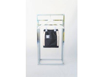 Úzka sukňa s lampasmi antracit/metalická koženka