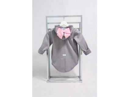 Pískací softshellový kabátik s mašľou sivý melír/ružová