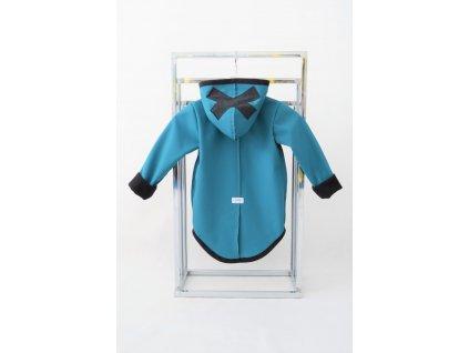 Pískací softshellový kabátik s krížikom zelenomodrý