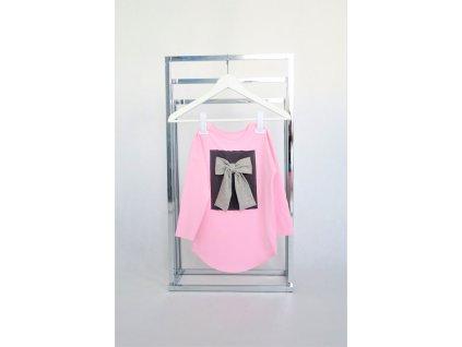 Tričko DR s mašľou na obdĺžniku - ružová