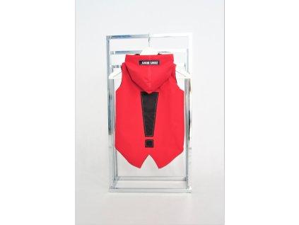 Šušťáková podšitá pískacia vesta s výkričníkom červená