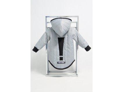 Prešívaná zimná bunda s výkričníkom sivá