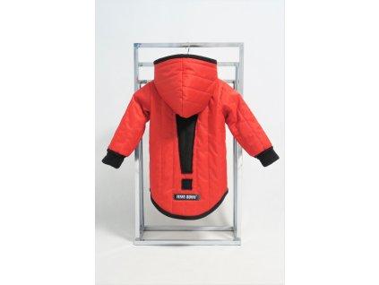 Prešívaná zimná bunda s výkričníkom červená