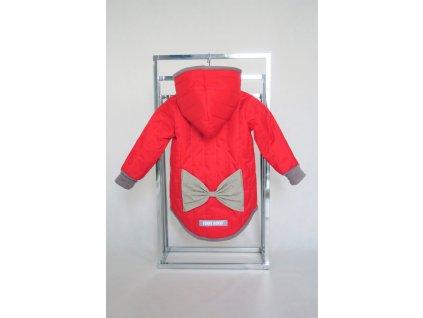 Prešívaná zimná bunda s mašľou červená