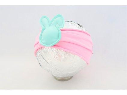 Pískacia bábo čelenka zajková ružová/mint