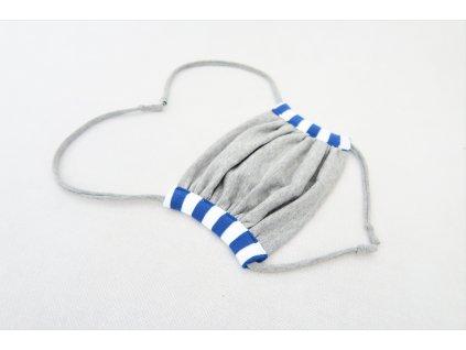 Rúško MIDI sivá/modrý pásik