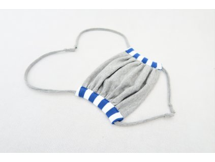 Rúško MINI sivá/modrý pásik