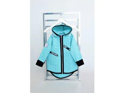 Jarná pískacia bunda s krížikom aqua/čierna
