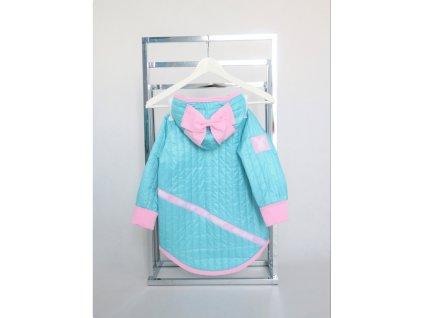 Jarná pískacia bunda s mašľou aqua/baby ružová