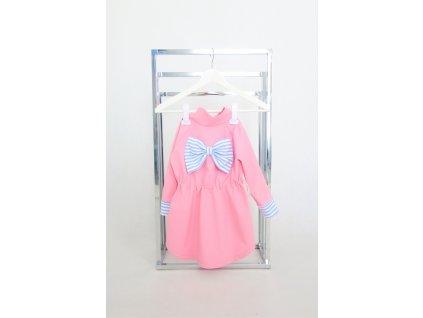 Pískací softshellový sťahovací kabátik s mašľou ružová/pásik sv. modrá