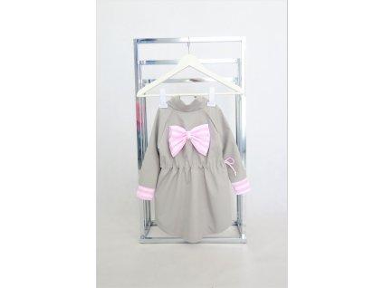 Pískací softshellový sťahovací kabátik s mašľou sivá/pásik ružová