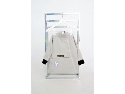 Pískací softshellový kabátik so šikmým zipsom sivá/čierna