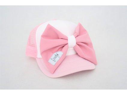 Šiltovka s mašľou - ružová/ružová