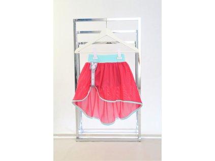 Kraťasy s pískacou sieťovanou sukňou mint/ružová