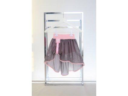 Kraťasy s pískacou sieťovanou sukňou ružová/sivá