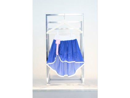 Kraťasy s pískacou sieťovanou sukňou biela/kráľovská modrá