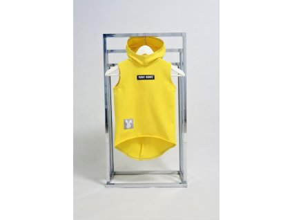 Pískacia tepláková vesta žltá
