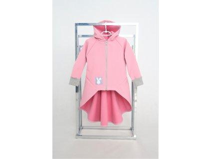 Pískací softshellový kabátik s nariaseným zadným dielom ružová