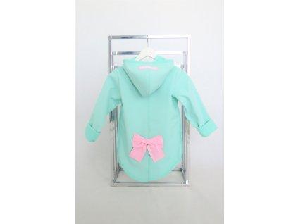 Pískací softshellový kabátik s mašľou mint/baby ružová