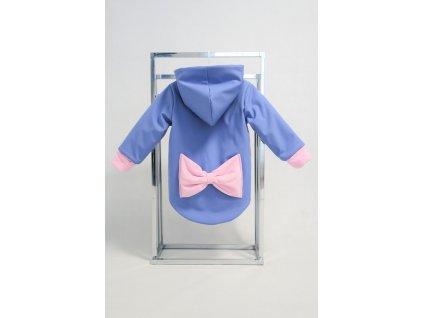 Zimná bunda s mašľou zafír/baby ružová