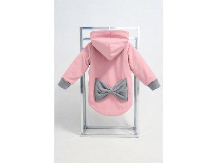 Zimná bunda s mašľou ružová/sivá
