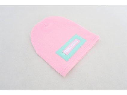 Pískacia flisová čiapka ružová/mint