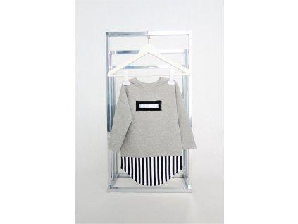 FunnyBunny predĺžené tričko dlhý rukáv sivá/pásik