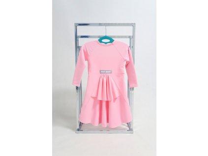 Pískacie princess šaty s dlhým rukávom - baby ružová