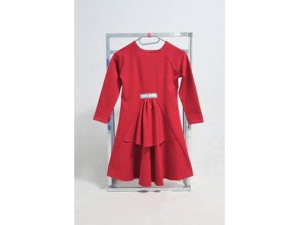 Pískacie španielske šaty s dlhým rukávom - malina