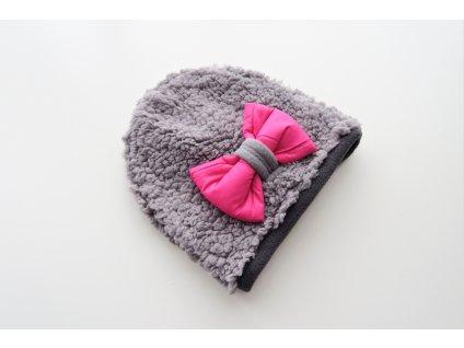 Pískacia čiapka huňatá sivá/sivá so žiarivo-ružovou mašľou