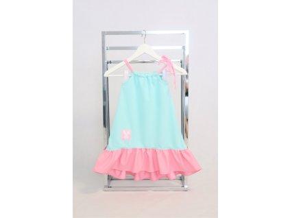 Pískacie šaty s volánom mint/baby ružová