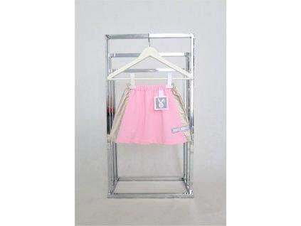Pískacia sukňa s lampasmi baby ružová/metalická koženka