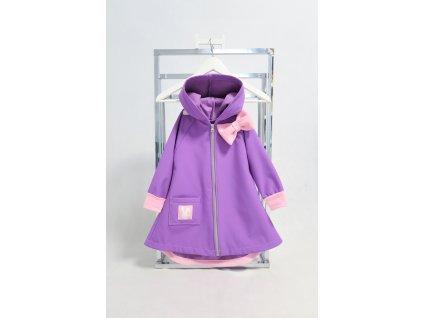 Pískací softshellový kabátik levanduľa//baby ružová