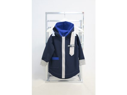 Pískací softshellový kabátik tm.modrá/sivá