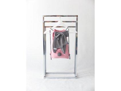 Pískací ruksak zajac s mašľou - ružová/sivá