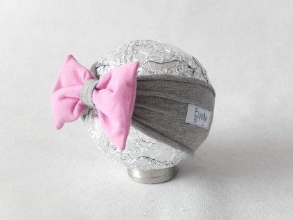 Pískacia čelenka sivá/jogurtovo ružová