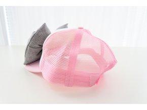 Šiltovka s mašľou - ružová/sivá