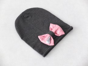 Pískacia šmolko čiapka s mašľou tmavosivá/šušťák ružová