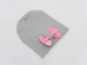 Pískacia šmolko čiapka s mašľou sivá/ružový softshell