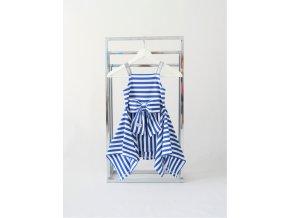 Pískacie letné šaty - modrý pásik