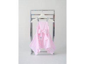 Pískacie letné šaty - ružový pásik