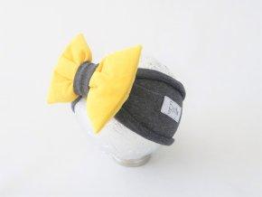Pískacia čelenka tmavo sivá/žltý kord