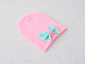 Pískacia šmolko čiapka s mašľou baby ružová/mint