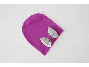 Pískacia šmolko čiapka s mašľou purpur/sivá