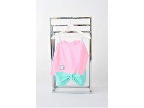 FunnyBunny predĺžené tričko s mašľami - baby ružová