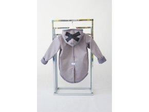 Pískací softshellový kabátik s krížikom sivý melír